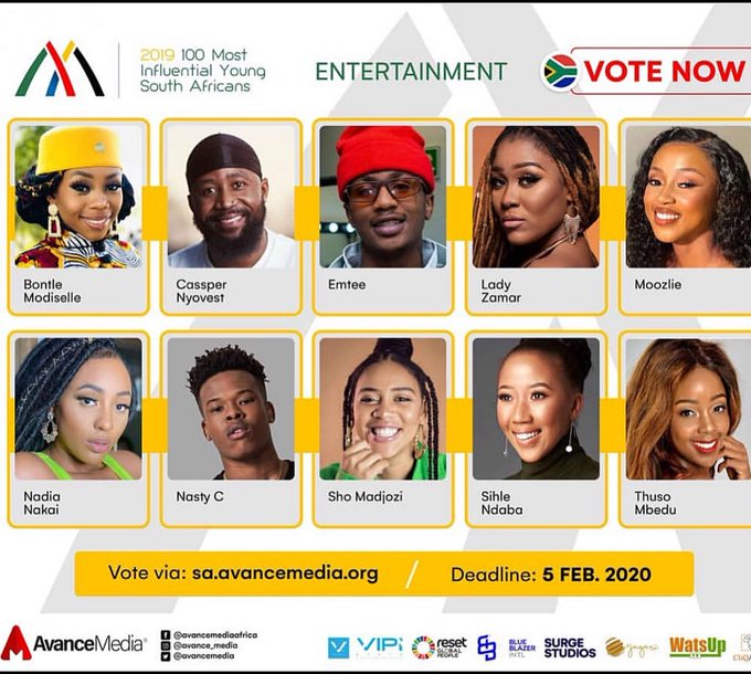 """Nasty C, Emtee, Lady Zamar, Moozlie, Nadia Nakai & Sho Madjozi To Battle For """"Most Influential Young South Africans"""""""