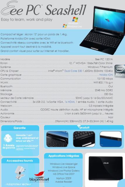 Rumored Specs for the ASUS Eee PC 1201N Netbook