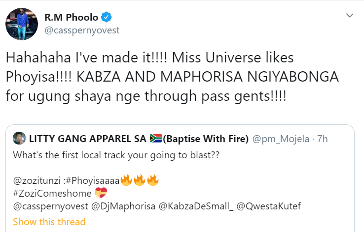 """Cassper Nyovest Goes Nuts After Miss Universe """"Zozibini"""" Reveals She Likes His Song Image"""