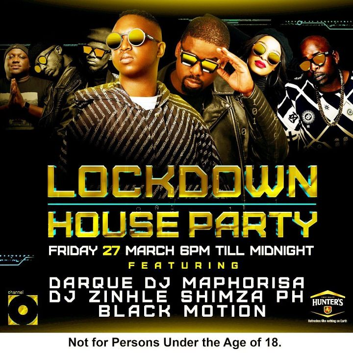 Catch DJ Shimza, Darque, Zinhle, Maphorisa, PH And Black Motion On Channel O For Lockdown House Party Image