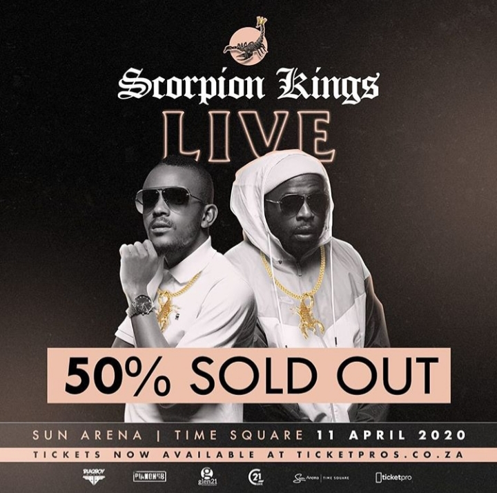 Dj Maphorisa And Kabza De Small's Scorpion Live King At Sun Arena Tickets Are 50% Sold Out Image