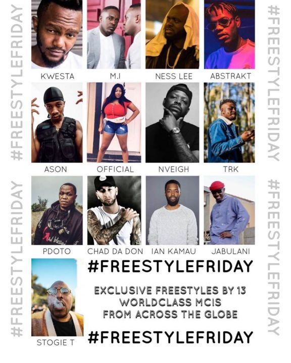 Kwesta, M.I Abaga, Nveigh, Pdot O & Chad Da Don To Feature On This Week Stogie T's #FreestyleFriday