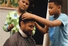 Photo of Watch Usher Kids Fix Him Up With A Haircut