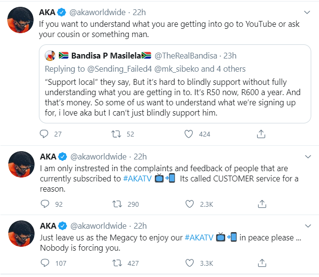 Leave Megacy To Enjoy AKA TV, Nobody Is Forcing You: AKA On Costly Subscription Fee Complaints Image