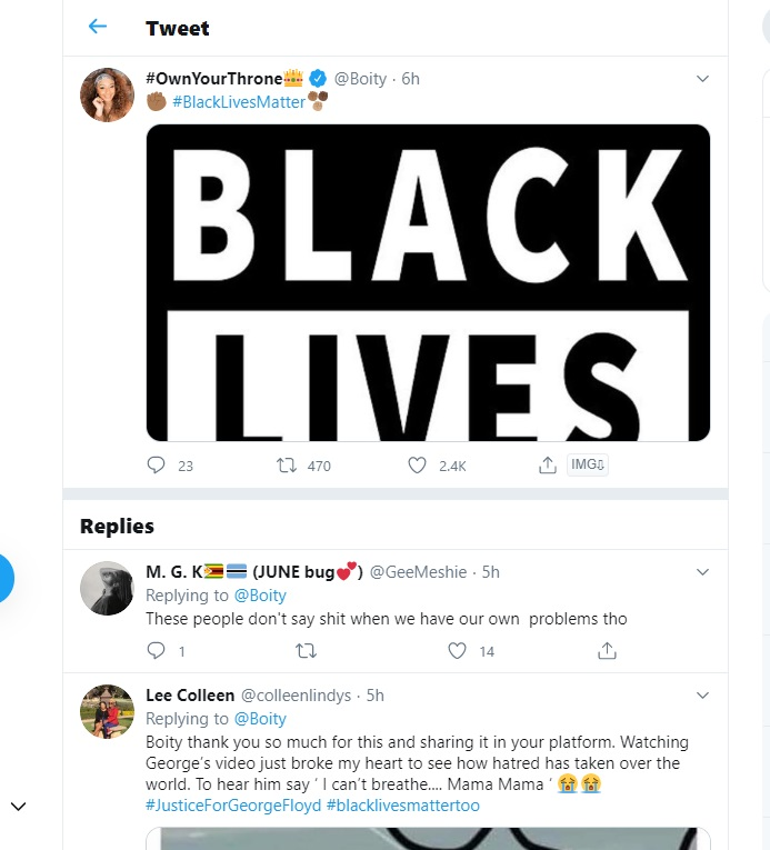 Majority Are Not In Support Of Boity Thulo's endorsement Of #BlackLivesMatter Movement Image