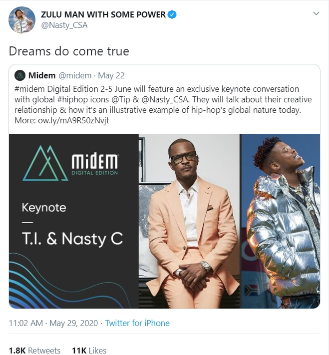 Nasty C And T.I To Sit And Talk About Their Creative Relationship Image