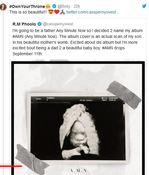 """Anele Mdoda, Riky Rick, Boity & Other Celebs Congratulate Father To-be """"Cassper Nyovest"""" Image"""