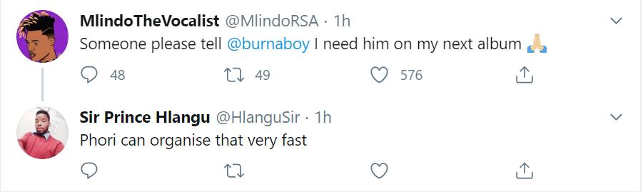 Mlindo The Vocalist Wants Burna Boy On His Album Image