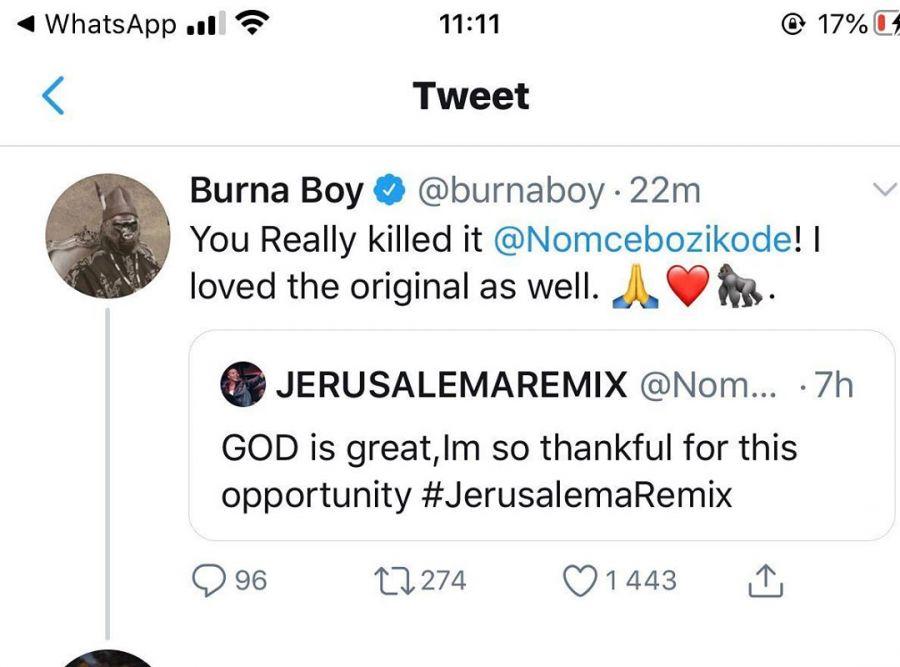 """You Really Killed It""- Burna Boy To Nomcebo's Verses On Jerusalema Image"