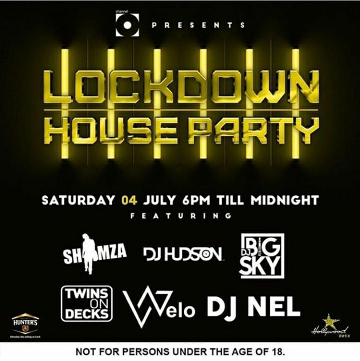 3rd & 4th, July Lockdown House Party Line UP: DJ Shimza, Big Sky, Nel, Hudson, Khuli Chana, PH, JazziDisciples And More