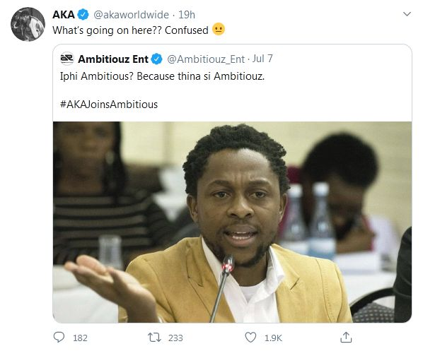 Has AKA Signed With Ambitiouz Entertainment?, Find Out Here Image