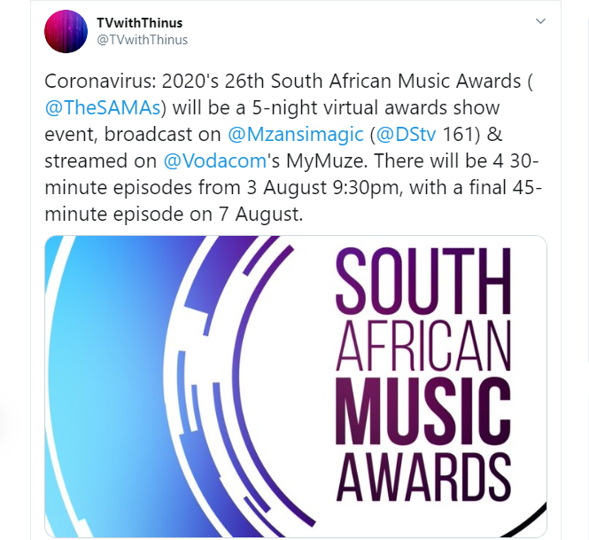 The South African Music Awards To Hold Virtually Image
