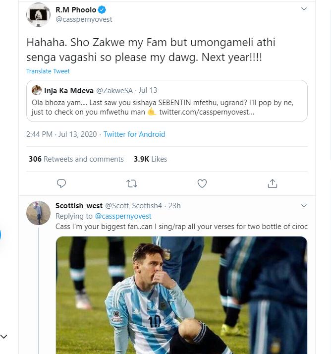 Tweeps Question Cassper's isiZulu Writing Skills Image