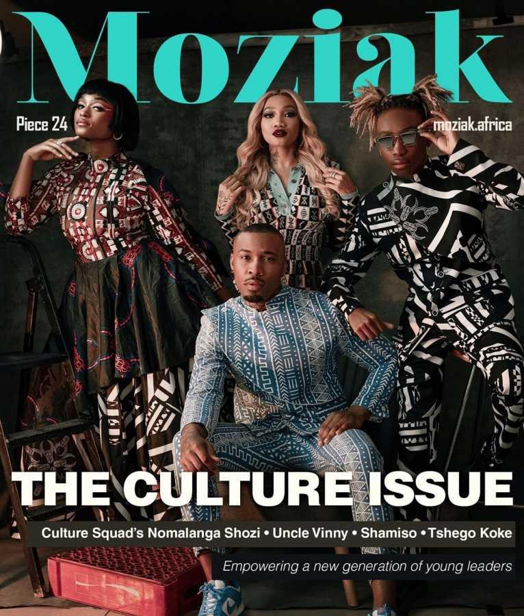 Nomalanga Shozi, Tshego Koke & Uncle Vinny One The Cover Of Moziak Magazine Africa