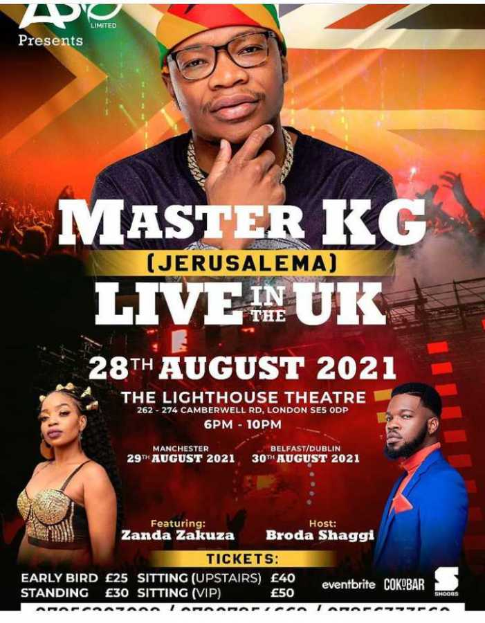 Master KG (Jerusalema) Live In The UK Concert With Zanda Zakuza Excludes Nomcebo Zikode
