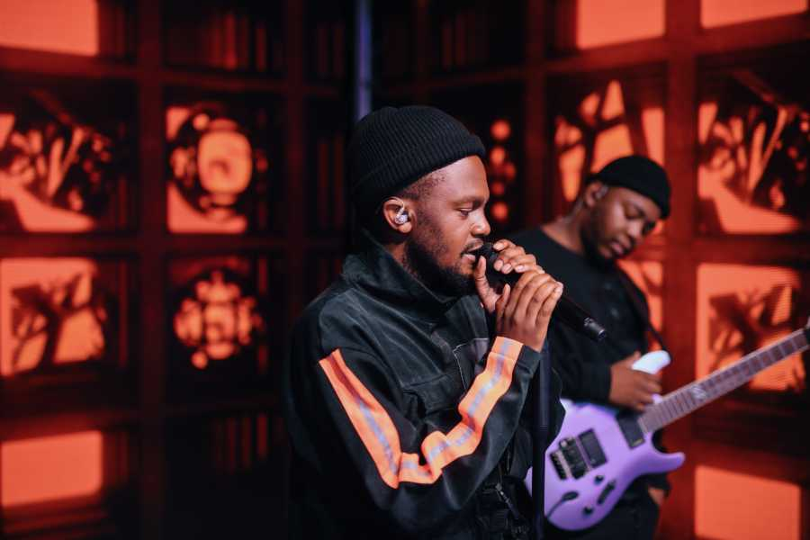 Kwesta performing on the stage of Vuse Inspired Live.