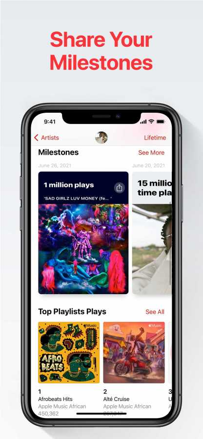 Apple Music will roll out a new iOS feature in Apple Music for Artists called Shareable Milestones