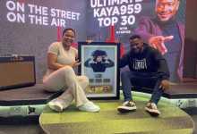 Simmy Receives Plaque Celebrating Her Platinum And Gold Success On Kaya 959 Top 30 With DJ Keyez