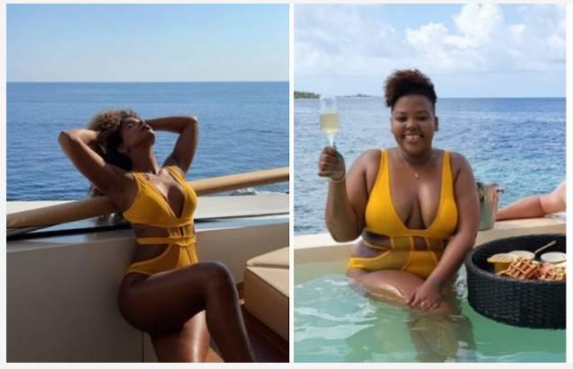 Mzansi Reacts As Kelly Rowland Shares Pics Rocking The Same Swimwear As Anele Mdoda